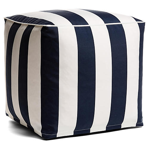 Cabana Stripe Outdoor Pouf, Navy/White