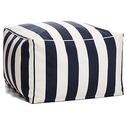 Cabana Stripe Outdoor Square Pouf, Navy/White