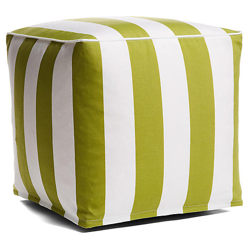 Cabana Stripe Outdoor Pouf, Green/White