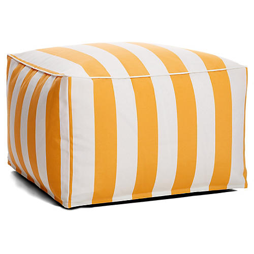 Cabana Stripe Outdoor Square Pouf, Yellow/White