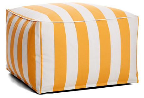Cabana Outdoor Large Square Pouf, Yellow