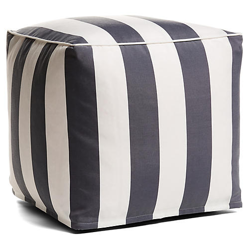 Cabana Stripe Outdoor Pouf, Gray/White