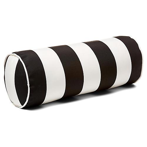 Cabana Stripe 8x20 Outdoor Bolster Pillow, Black