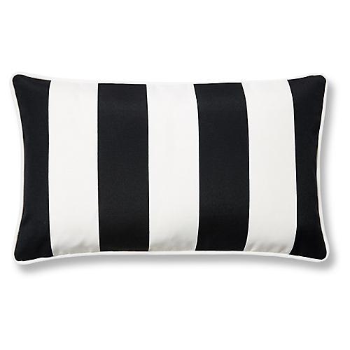 Cabana Stripe 12x20 Outdoor Lumbar Pillow, Black