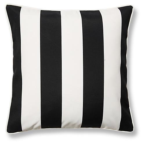 Cabana Stripe 20x20 Outdoor Pillow, Black