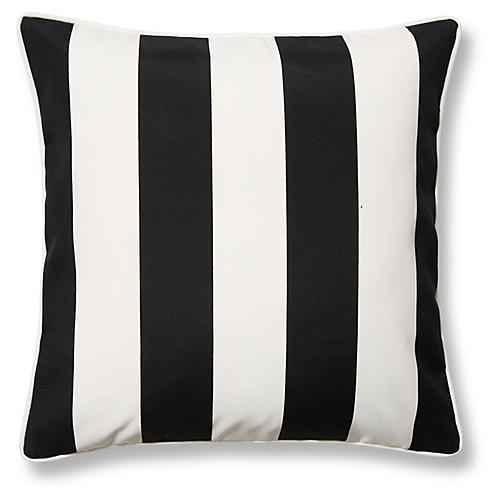 Cabana Stripe 20x20 Outdoor Pillow, Black
