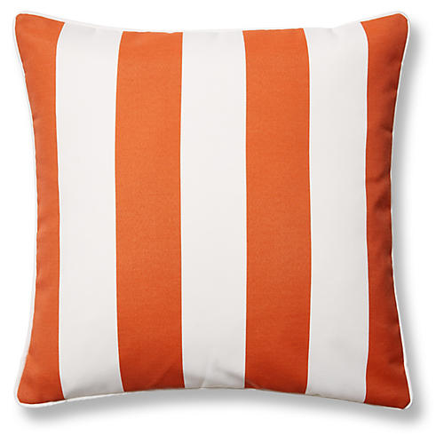 Cabana Stripe 20x20 Outdoor Pillow, Orange