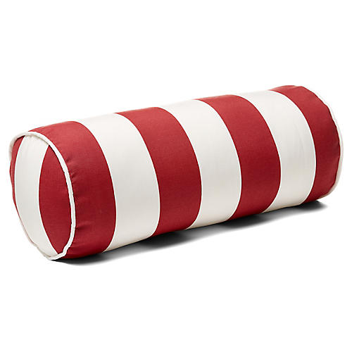 Cabana Stripe 8x20 Outdoor Bolster Pillow, Red