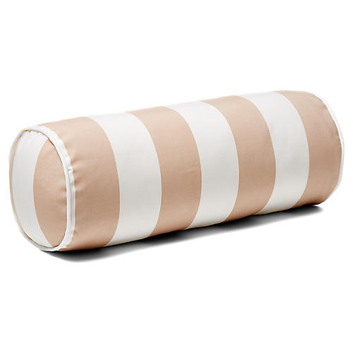 Cabana Stripe 8x20 Outdoor Bolster Pillow, Beige
