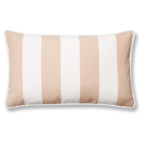 Cabana Stripe 12x20 Outdoor Lumbar Pillow, Beige
