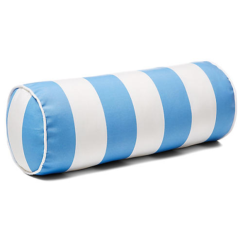 Cabana Stripe 8x20 Outdoor Bolster Pillow, Blue
