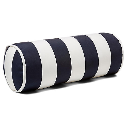 Cabana Stripe 8x20 Outdoor Bolster Pillow, Navy