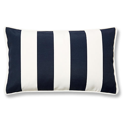 Cabana Stripe 12x20 Outdoor Lumbar Pillow, Navy