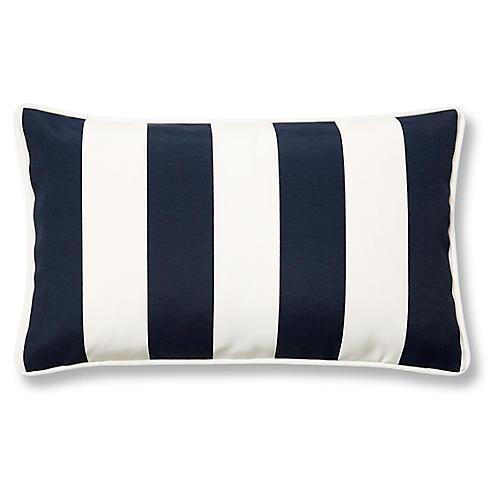 Cabana Stripe 12x20 Outdoor Lumbar Pillow, Navy