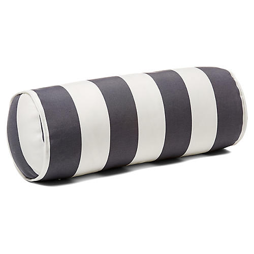 Cabana Stripe 8x20 Outdoor Bolster Pillow, Gray