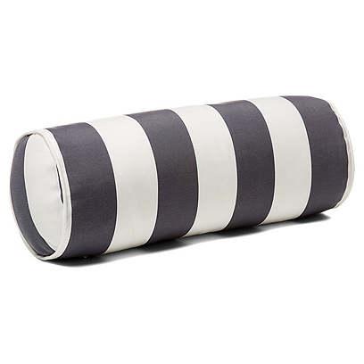 Cabana Stripe 8x20 Outdoor Bolster Pillow, Gray