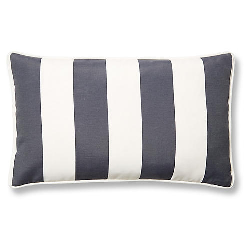 Cabana Stripe 12x20 Outdoor Lumbar Pillow, Gray