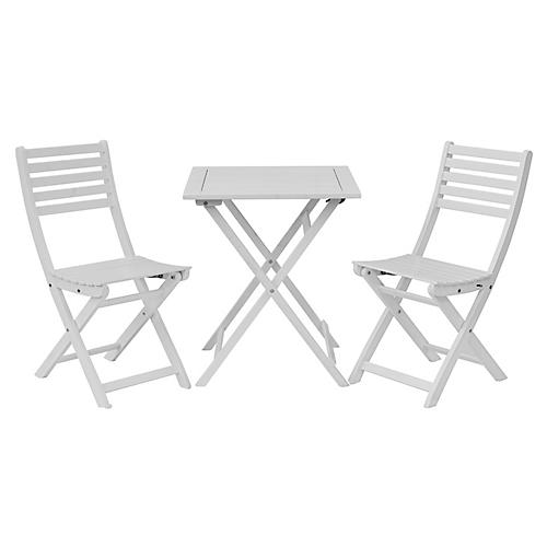 Amber 3-Pc Square Bistro Set, White