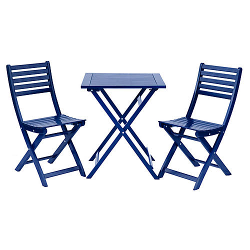 Amber 3-Pc Square Bistro Set, Navy