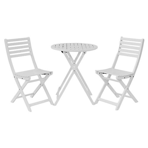 Amber 3-Pc Round Bistro Set, White
