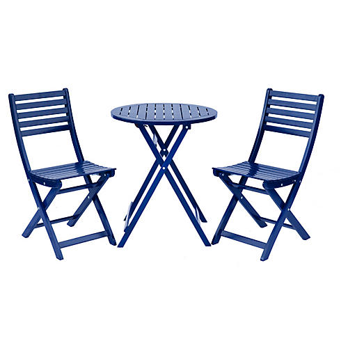 Amber 3-Pc Round Bistro Set, Navy