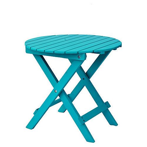 Adirondack Round Side Table, Turquoise