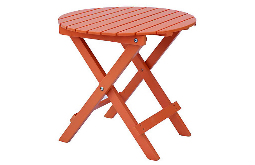 Adirondack round side table orange backyard living for Orange outdoor side table
