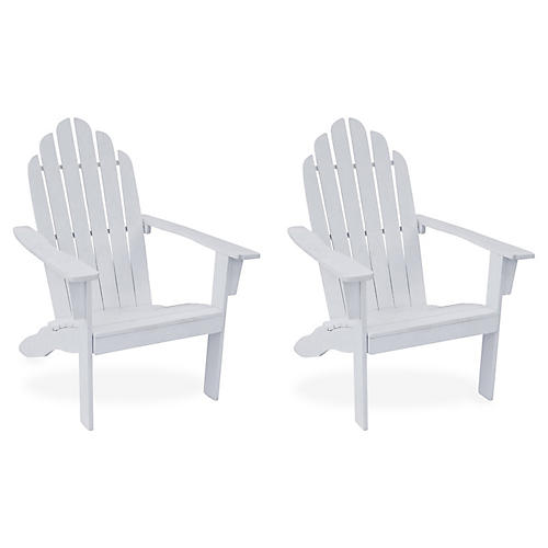 S/2 Adirondack Outdoor Chairs, White