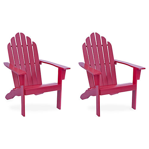 S/2 Adirondack Outdoor Chairs, Red