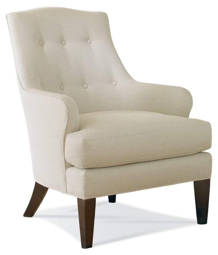 Maeve Tufted Accent Chair, Ivory/Beige
