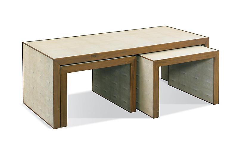 Zaine Faux-Shagreen Nesting Tables, Gray
