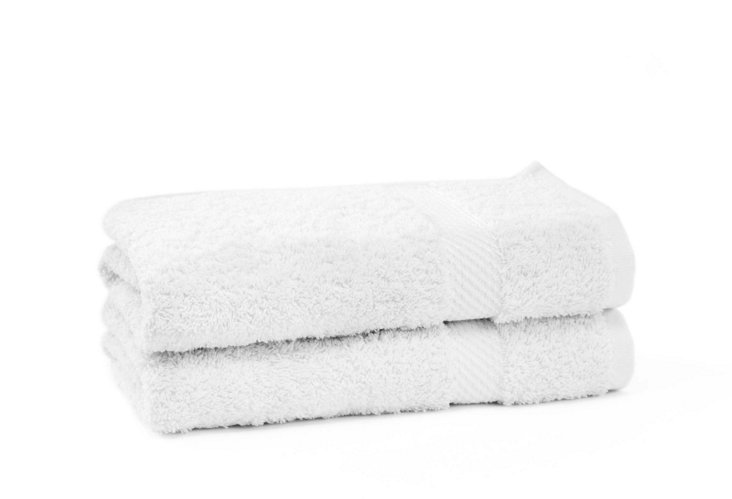 S/2 Rhapsody Royale Hand Towels, White