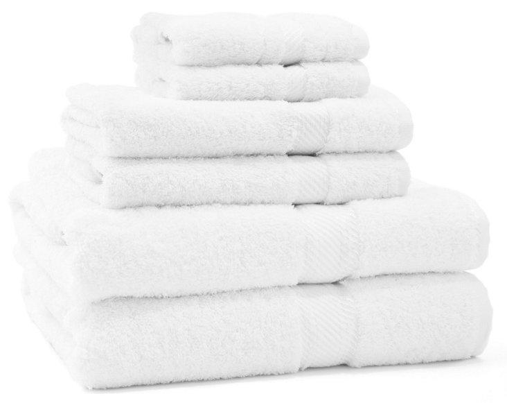 6-Pc Rhapsody Towel Set, White