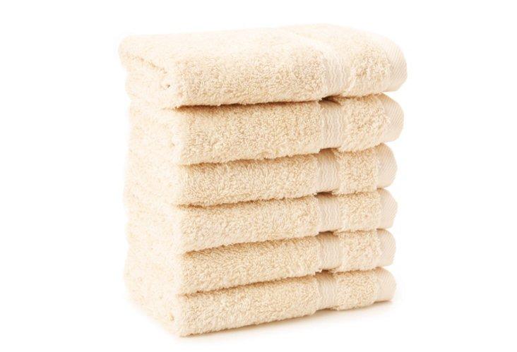 S/6 Royal Ascot Washcloths, Vanilla