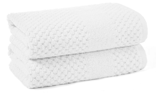 S/2 Honeycomb Hand Towels, White
