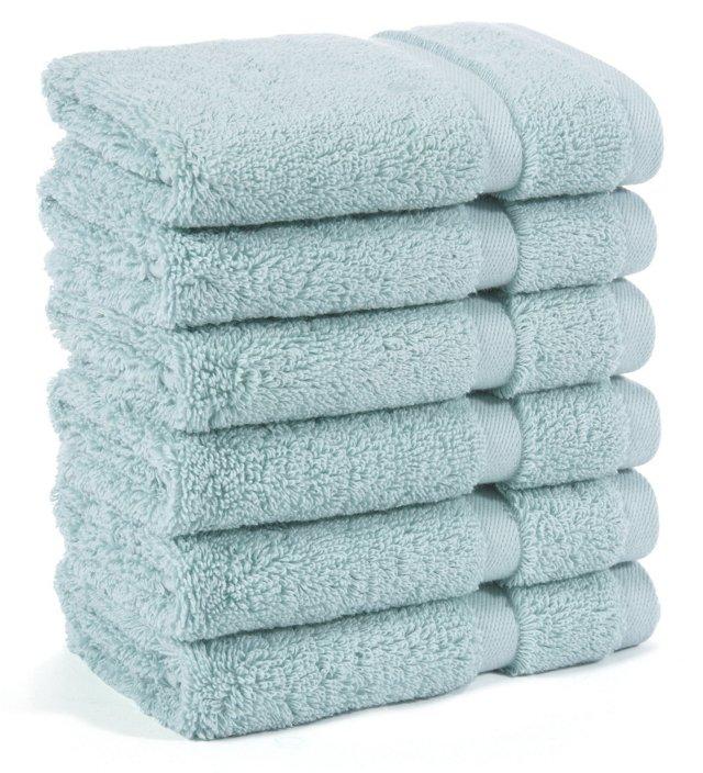 S/6 Irvington Washcloths, Mineral Blue