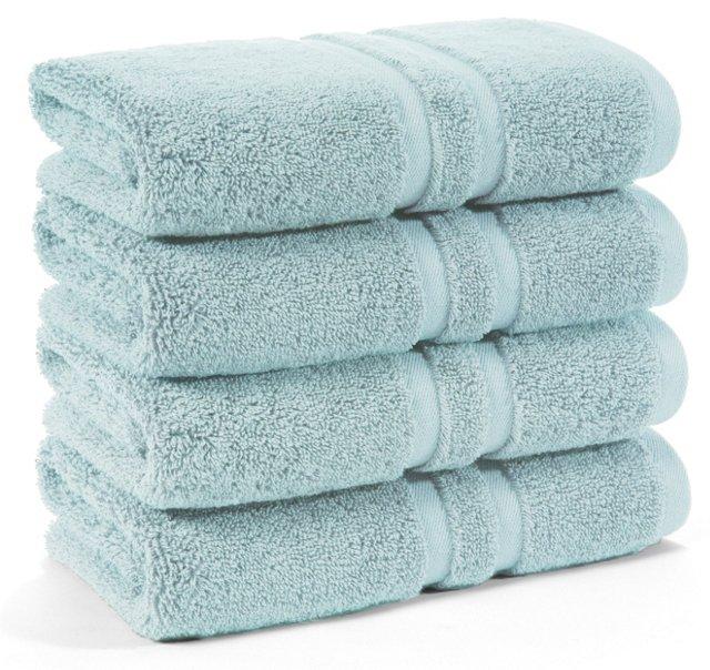 S/4 Irvington Hand Towels, Mineral Blue