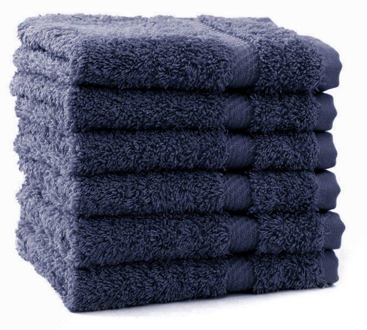 S/6 Rhapsody Royale Washcloths, Navy