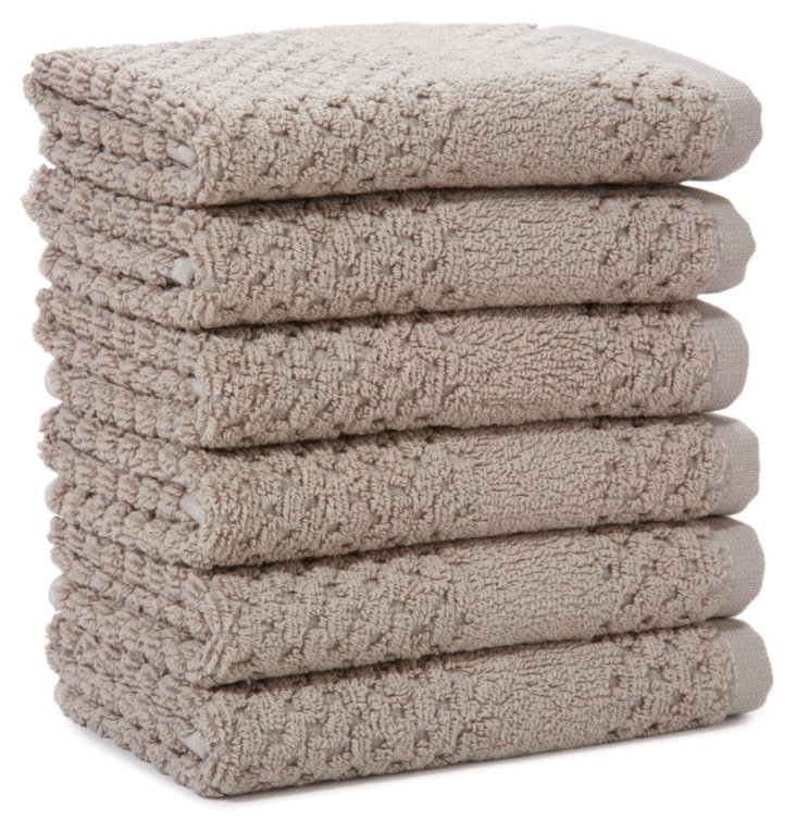 S/6 Honeycomb Washcloths, Flax