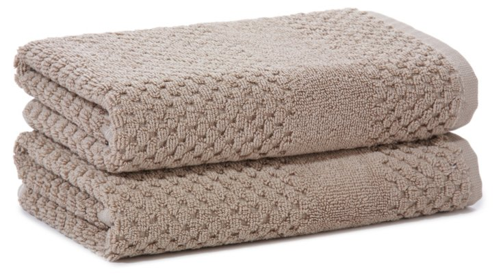 S/2 Honeycomb Hand Towels, Flax