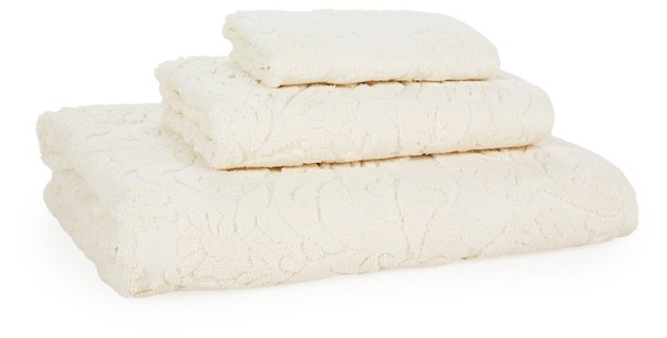 3-Pc Baroque Towel Set, Oyster