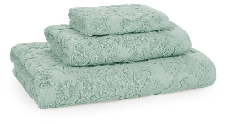 3-Pc Baroque Towel Set, Duck Egg