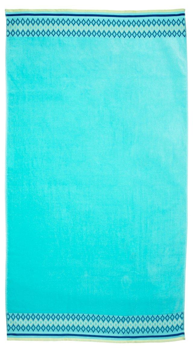 Diamond Beach Towel, Turquoise