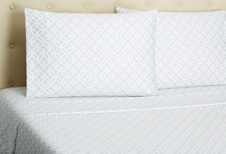 King Meridian Sheet Set, Azure/White