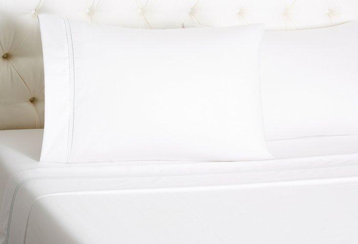 Hotel Sateen Sheet Set, White/Sea Glass