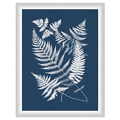 Buckler Fern In Navy Linen