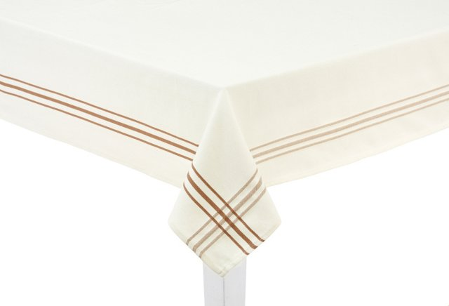 White Tablecloth w/ Taupe Stripes