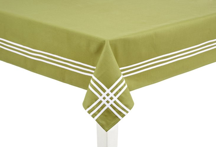 Green & White Striped Tablecloth