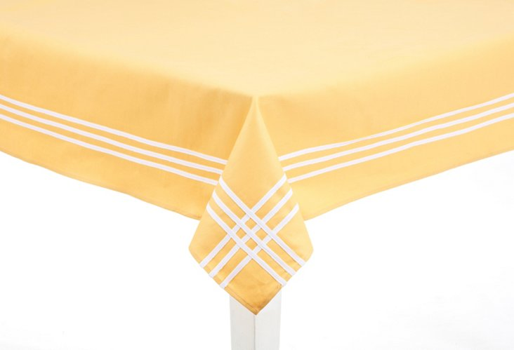 Yellow & White Striped Tablecloth