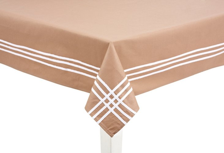 """Taupe Striped Tablecloth 60""""x84"""""""